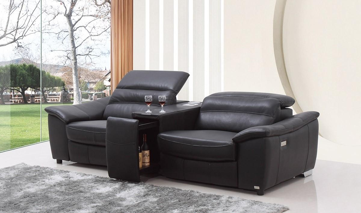 Casa Donovan Modern Black Italian Leather Recliner Sofa With Wine Inside Italian Recliner Sofas (View 1 of 20)
