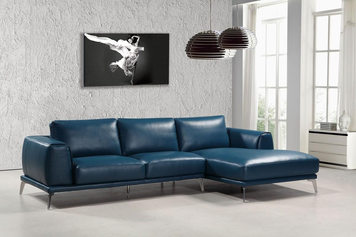 Casa Drancy Modern Blue Bonded Leather Sectional Sofa Throughout Blue Leather Sectional Sofas (Image 5 of 20)