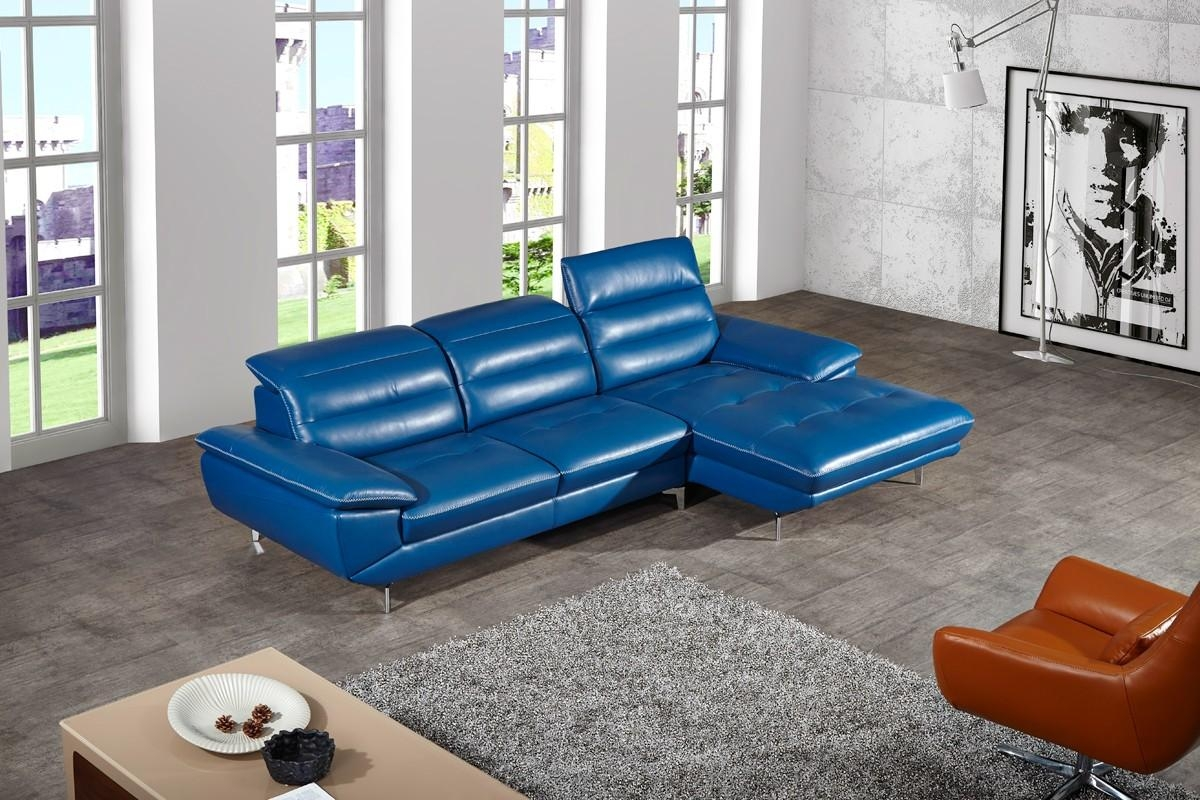 Casa Hobart Modern Blue Leather Sectional Sofa For Blue Leather Sectional Sofas (View 7 of 20)