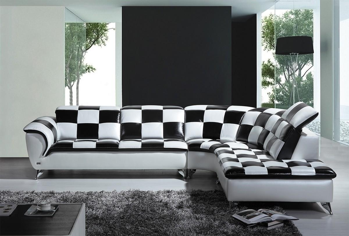 Casa K8478 Modern Black And White Checkered Leather Sectional Sofa In Black And White Sectional (Image 5 of 15)