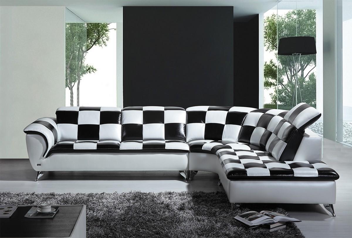 Casa K8478 Modern Black And White Checkered Leather Sectional Sofa In Black And White Sectional (View 2 of 15)