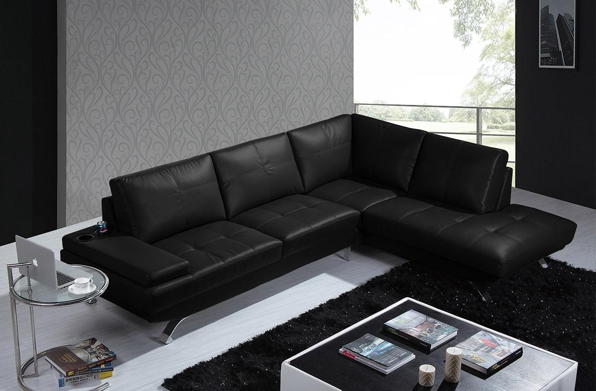 Casa Knight Modern Black Leather Sectional Sofa Regarding Black Modern Sectional Sofas (Image 6 of 20)