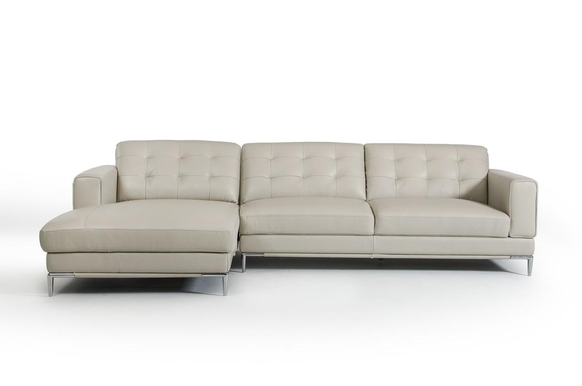 Casa Larkspur Mid Century Light Grey Leather Sectional Sofa Within Mid Century Modern Leather Sectional (Image 1 of 20)