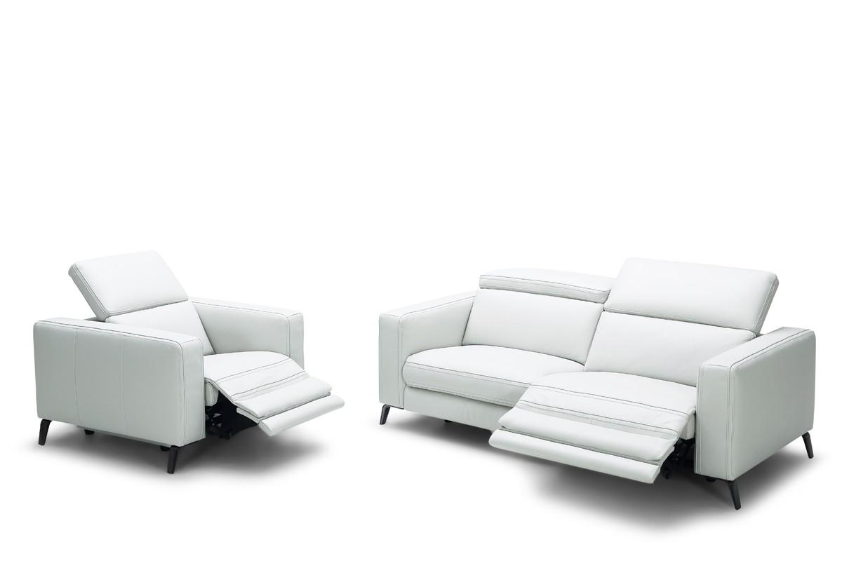 Casa Roslyn Modern White Leather Sofa Set W/ Recliners Throughout White Modern Sofas (Image 3 of 20)