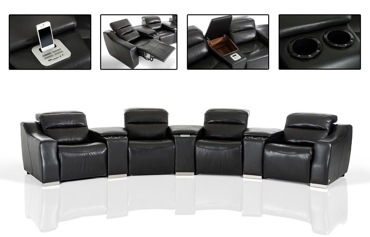 Casa Salem Modern Black Eco Leather Recliner Sectional Sofa With Within Modern Reclining Sectional (Image 5 of 20)