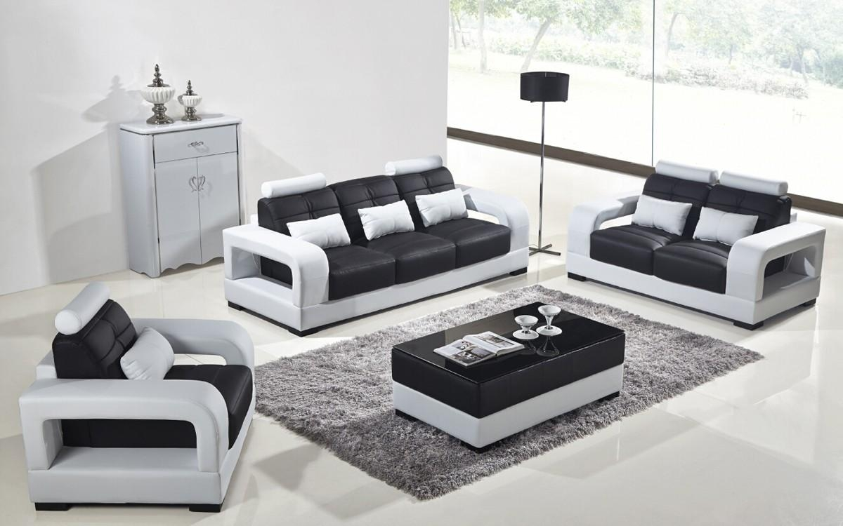 Casa T322B Modern White & Black Bonded Leather Sofa Set Pertaining To Black And White Leather Sofas (View 8 of 20)