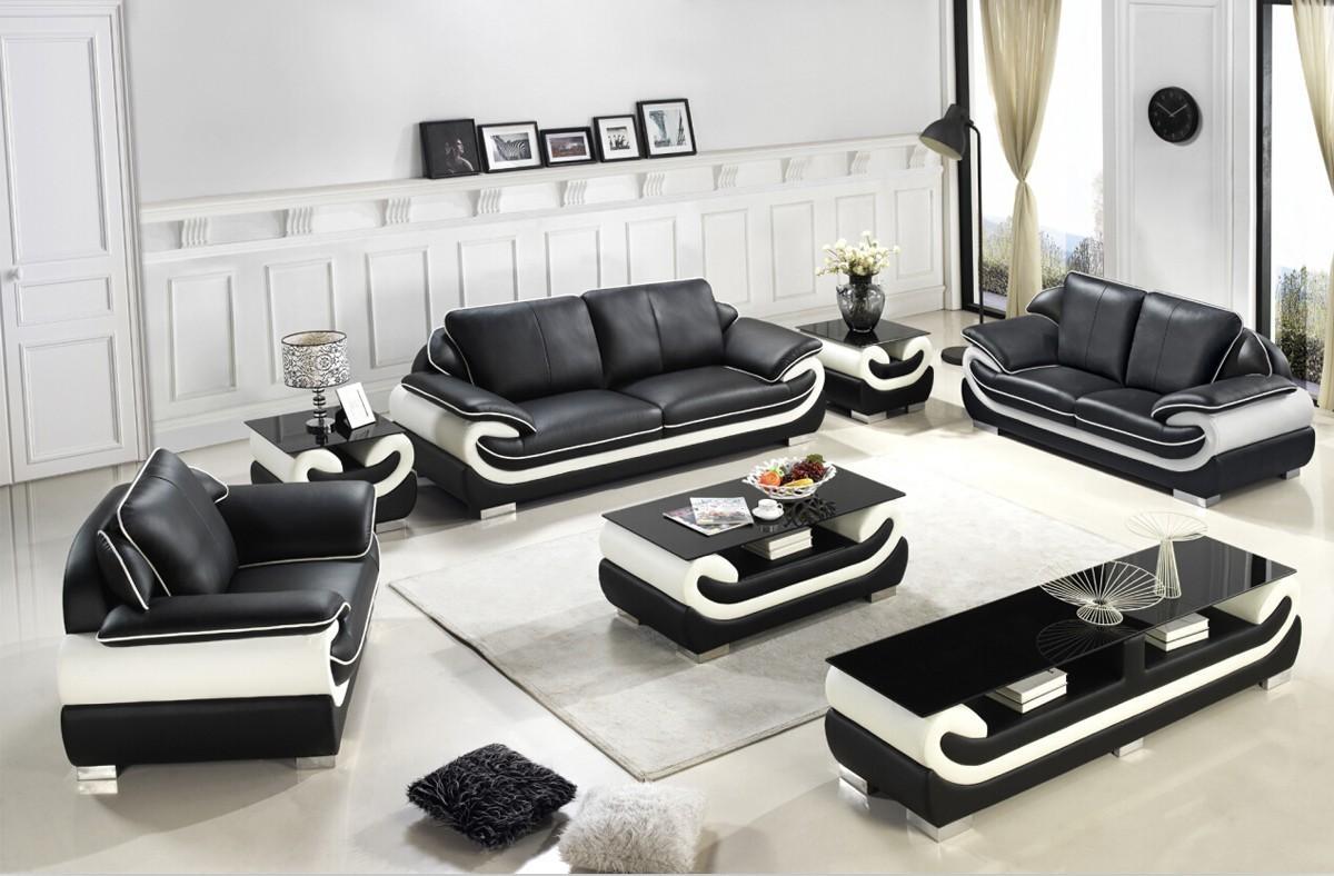 Casa T777 Modern Black & White Bonded Leather Sofa Set Intended For Black And White Leather Sofas (Image 11 of 20)