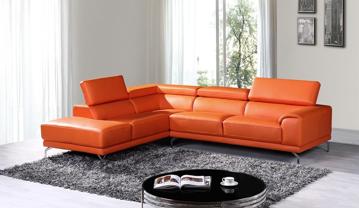 Casa Wisteria Modern Orange Leather Sectional Sofa W/ Left Facing Regarding Orange Modern Sofas (Image 5 of 20)