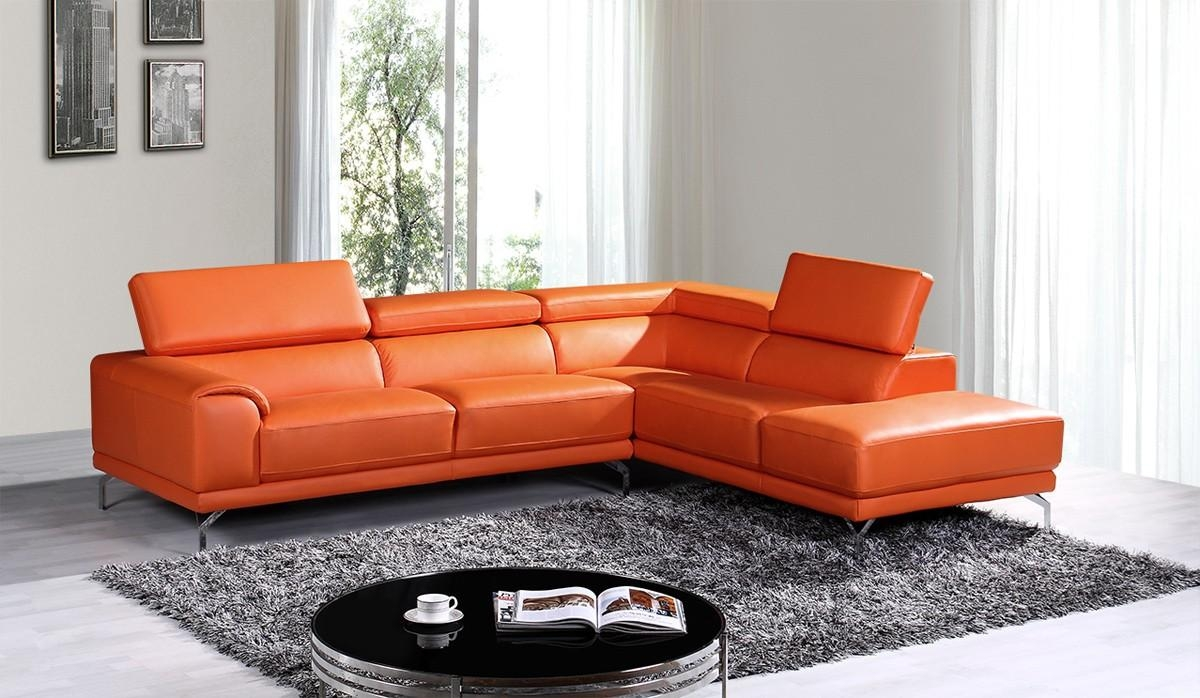 Casa Wisteria Modern Orange Leather Sectional Sofa W/ Right Facing With Orange Sectional Sofas (Image 7 of 20)