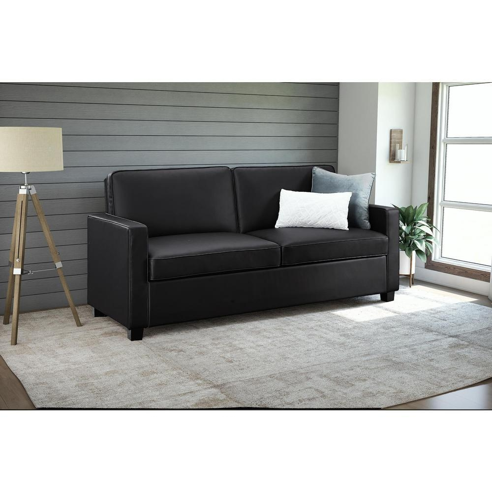 Casey Queen Size Black Faux Leather Sleeper Sofa 2152007 – The Within Faux Leather Sleeper Sofas (Image 3 of 20)