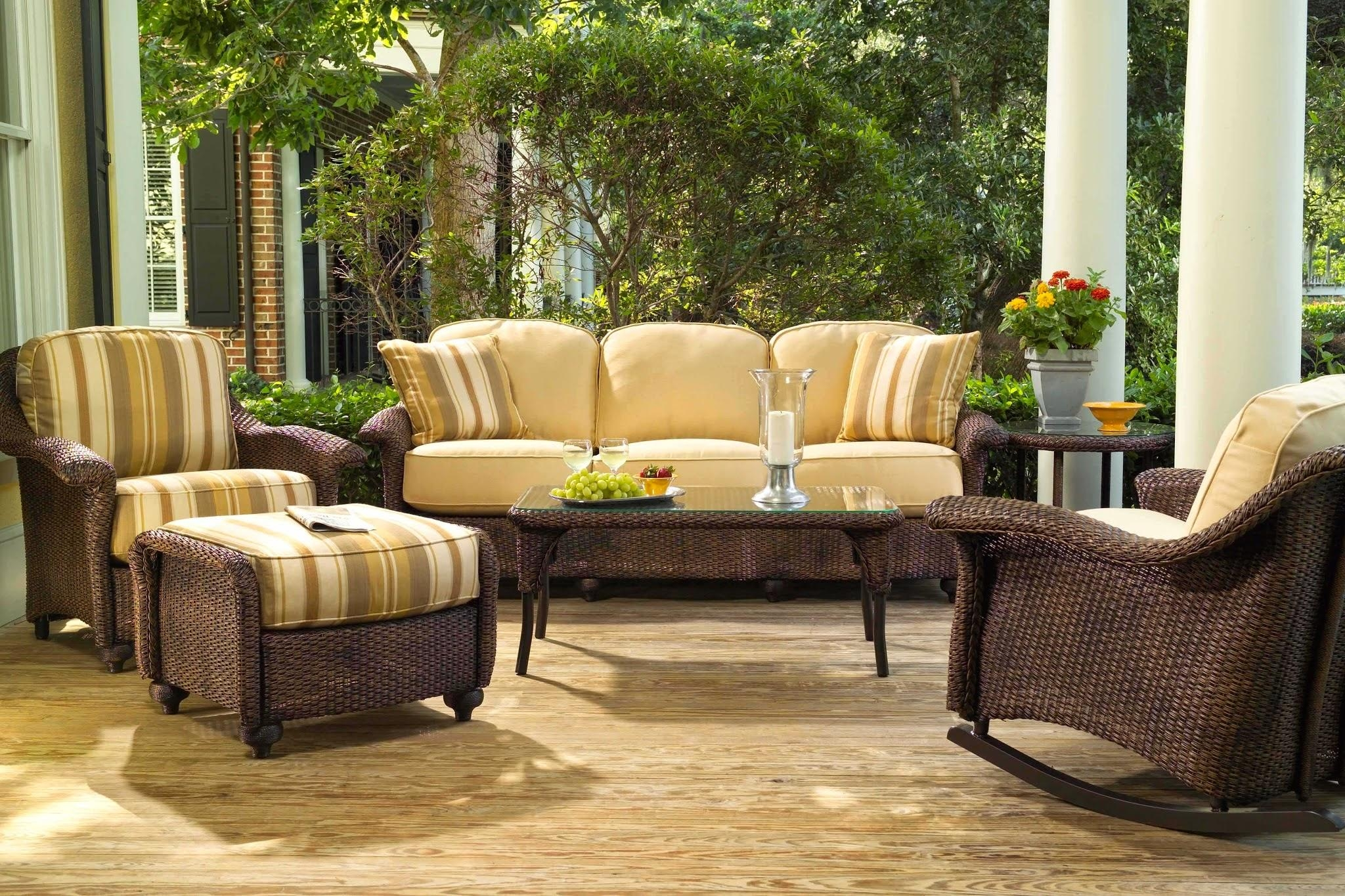Cast Aluminum Patio Furniture Sets 6 Pc Outdoor Wicker Furniture For Black Wicker Sofas (View 20 of 20)