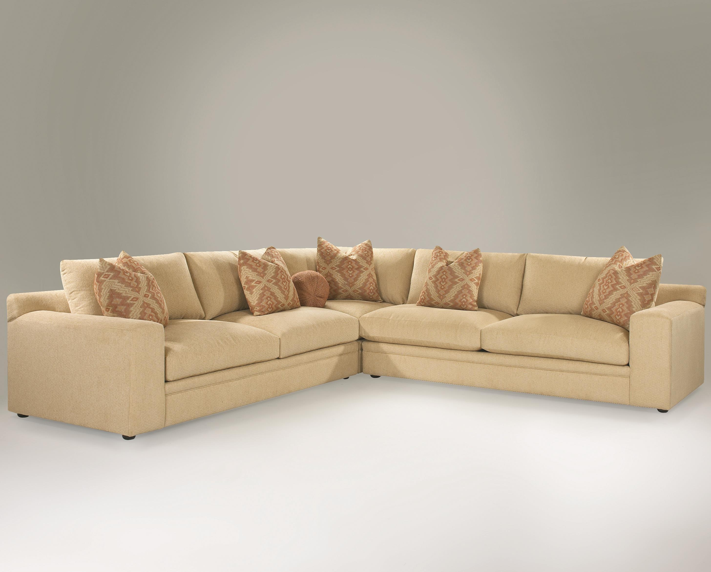 Casual 3 Piece Sectional Sofa With Track Arms And Loose Back With Regard To Loose Pillow Back Sofas (Image 1 of 20)
