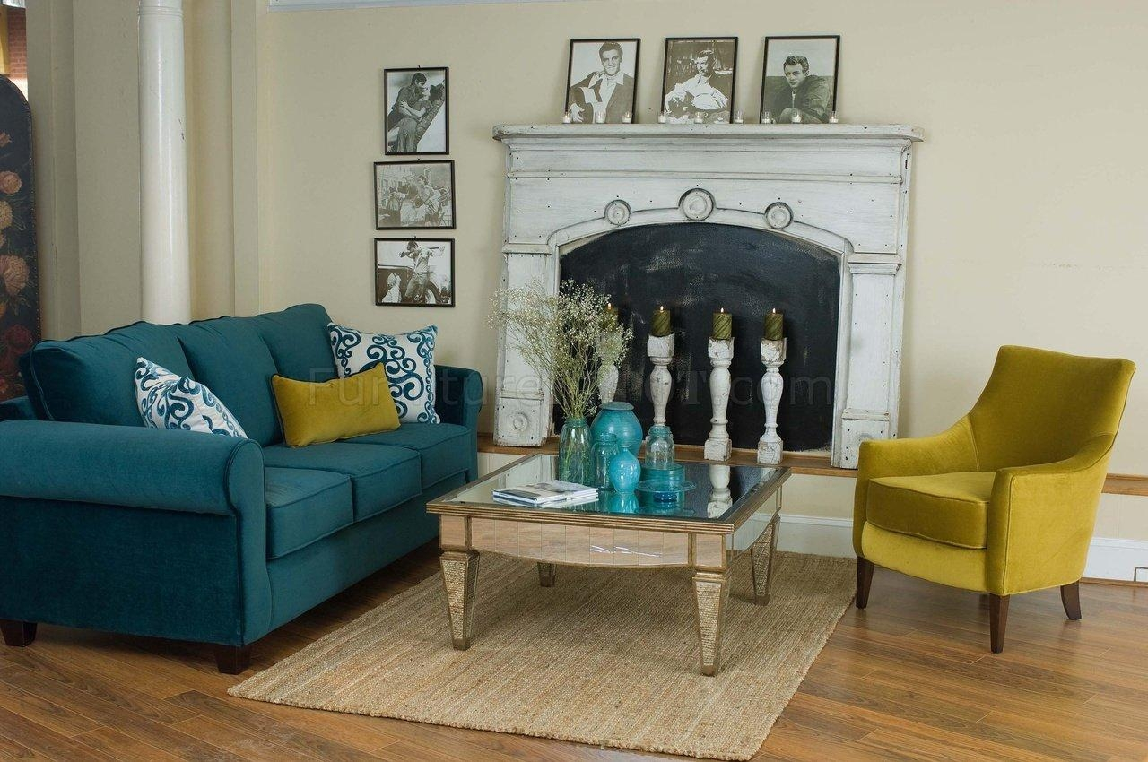 Casual Fabric Living Room Blue Sofa & Golden Green Chair Set Intended For Blue Sofa Chairs (Image 9 of 20)