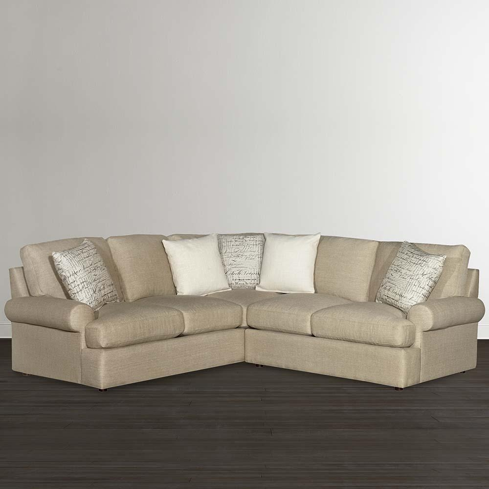 Casual Tan L Shaped Sectional | Bassett Home Furnishings Inside Down Filled Sectional Sofa (Image 2 of 15)