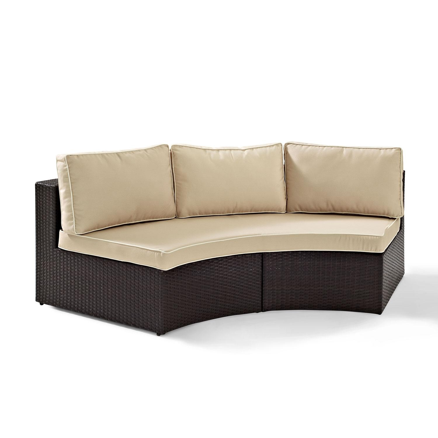 Catalina Outdoor Wicker Round Sectional Sofa With Sand Cushions With Regard To Round Sectional Sofa Bed (Image 3 of 20)