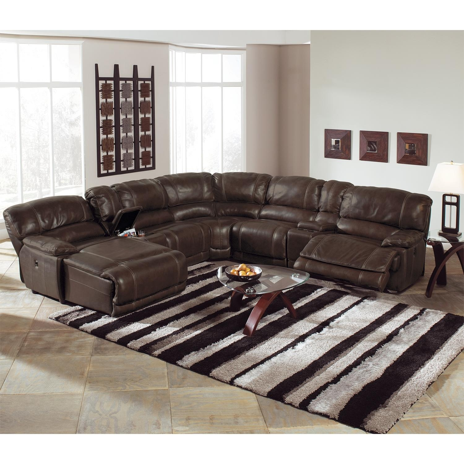 Catnapper Perez Power Reclining Sofa With Pillow Topped Cushions For Sectional Sofas With Electric Recliners (Image 4 of 22)