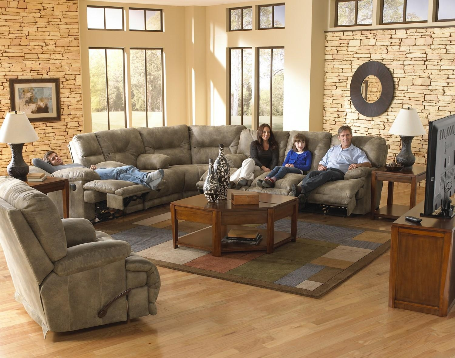 Catnapper Voyager Lay Flat 3 Pc Sectional W/ Triple Recline Sofa With Regard To Catnapper Reclining Sofas (Image 13 of 20)