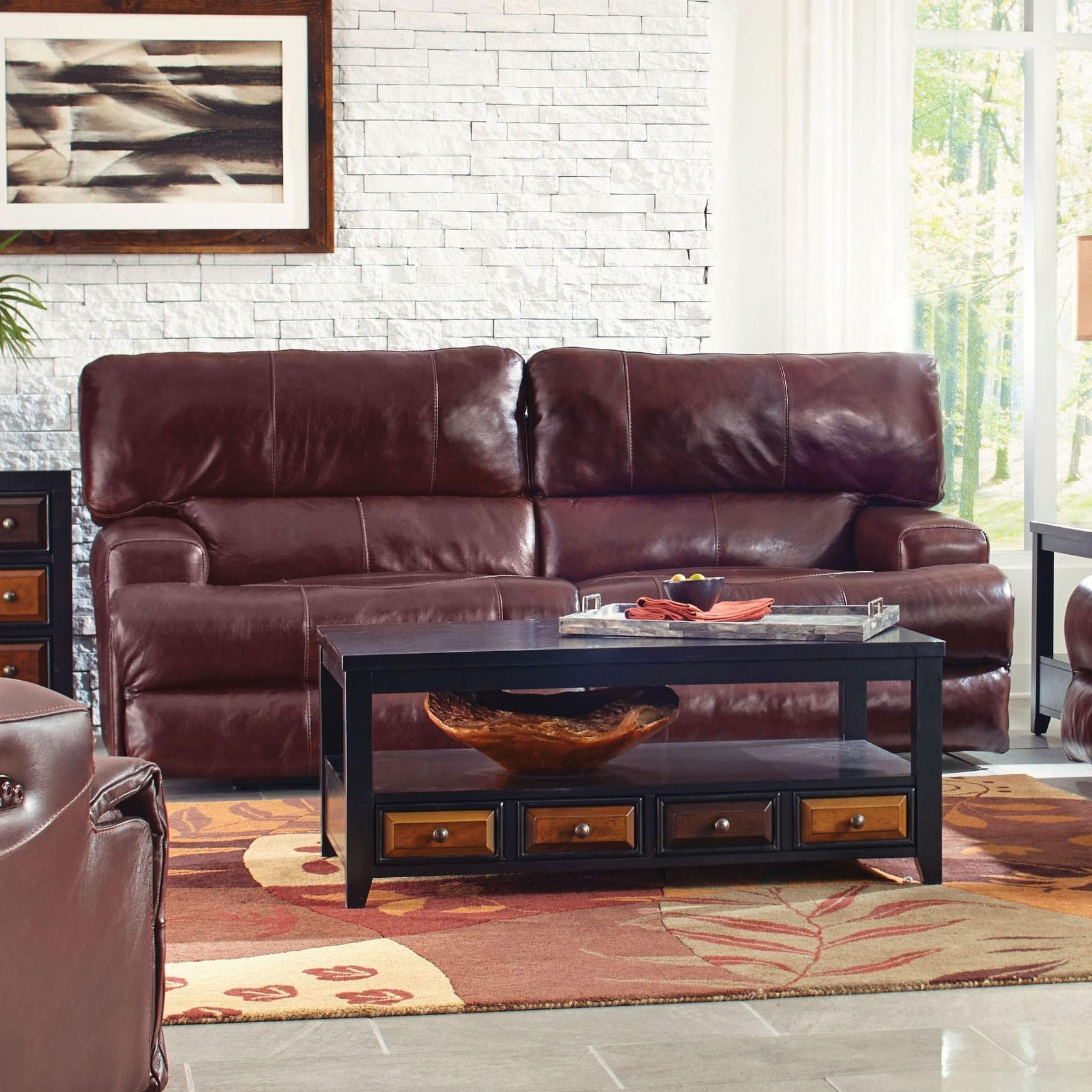 Catnapper Wembley Leather Lay Flat Reclining Sofa In Walnut 4581 With Regard To Catnapper Recliner Sofas (Image 11 of 20)