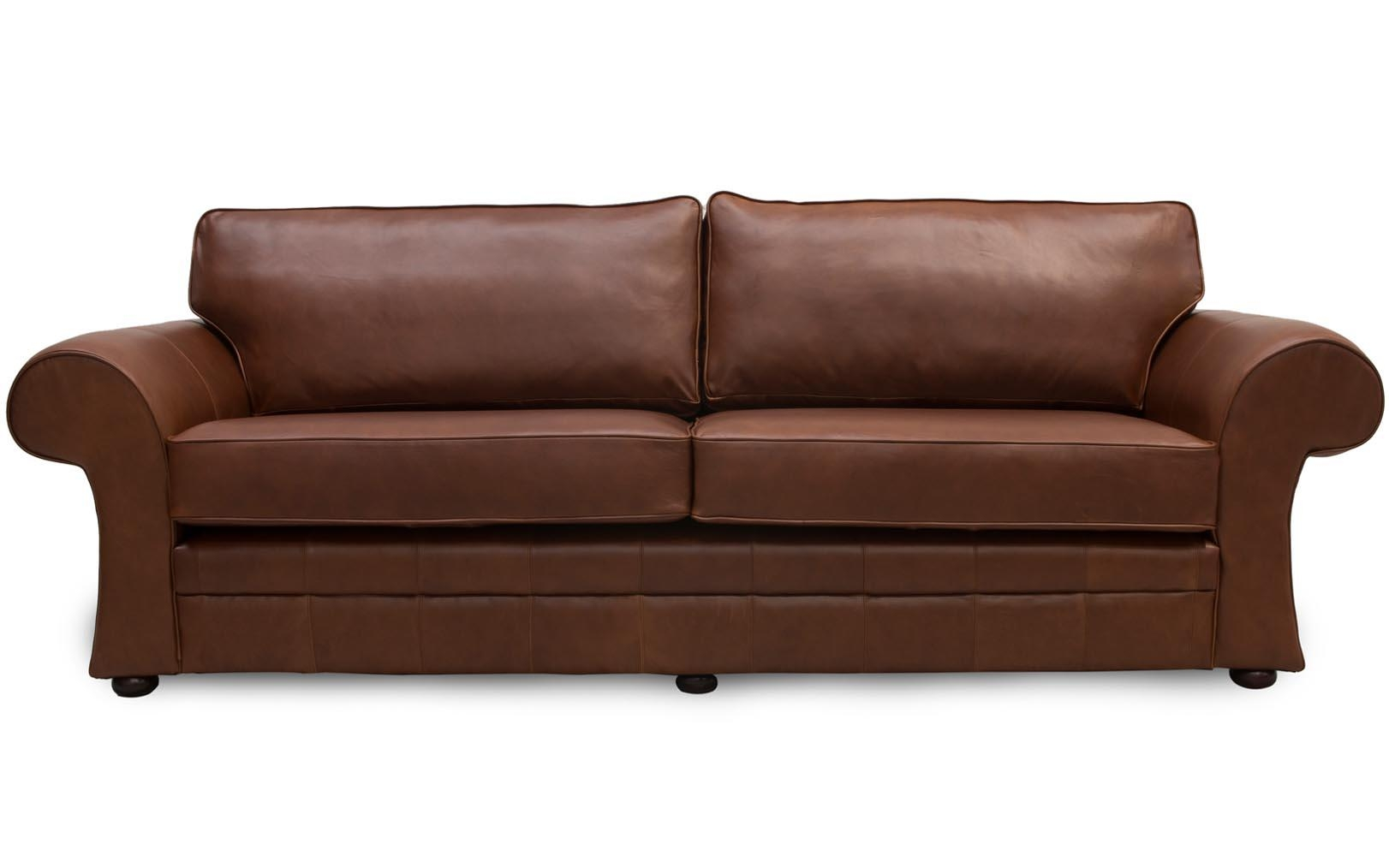 Cavan Scroll Arm Leather Sofa Made In Manchesterthe Leather For Manchester Sofas (Image 3 of
