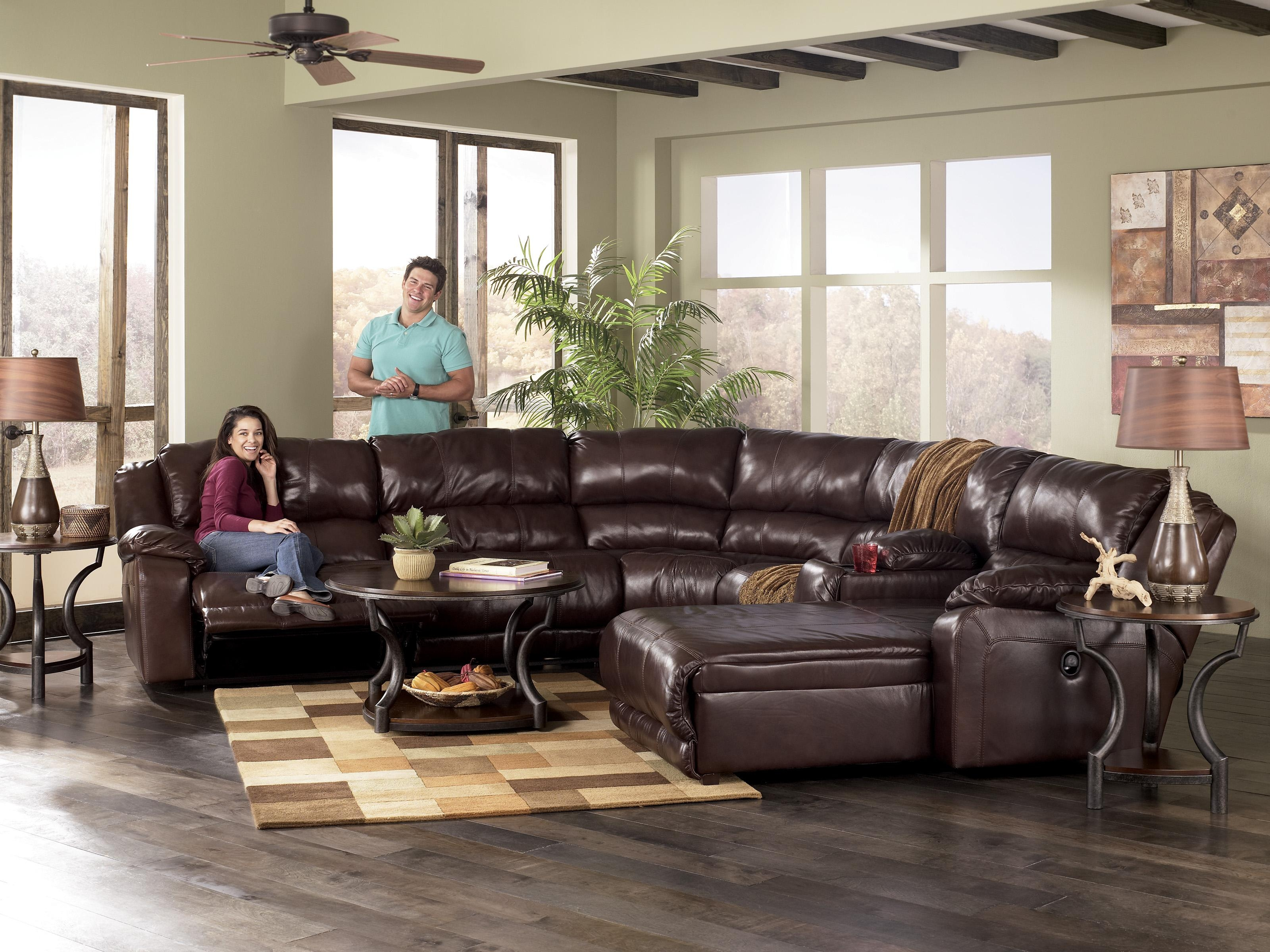 Chair & Sofa: Have An Interesting Living Room With Ashley Within Ashley Furniture Leather Sectional Sofas (Image 8 of 20)