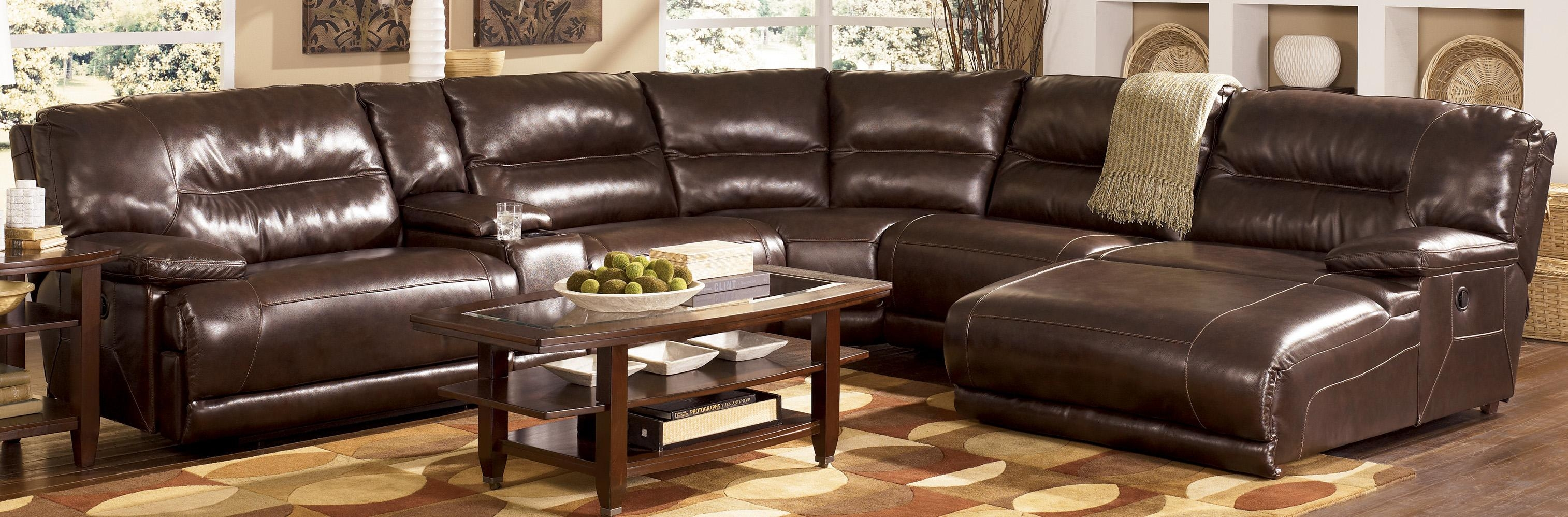 Chair & Sofa: Have An Interesting Living Room With Ashley Within Faux Leather Sectional Sofas (Image 3 of 15)