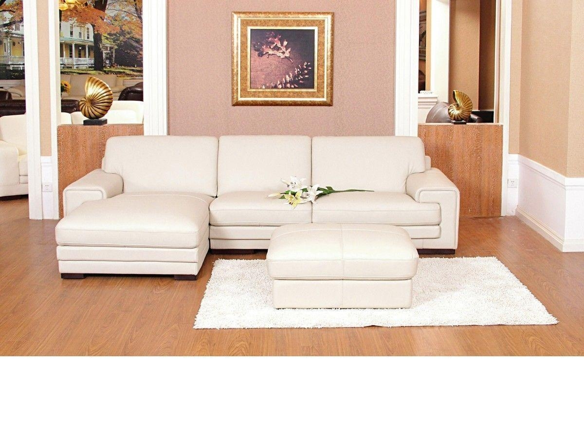 Chaise Corner Sofa Leather Mix Cream Black Brown – Homegenies Intended For Corner Sofa Leather (Image 2 of 20)