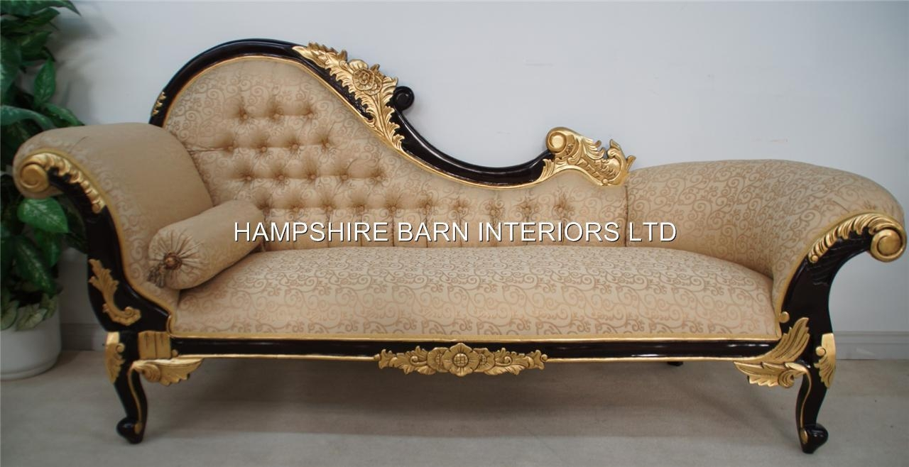 Chaise Longue Large Ornate Mahogany W Gold Cream Lounge Sofa Pertaining To French Style Sofas (Image 2 of 20)