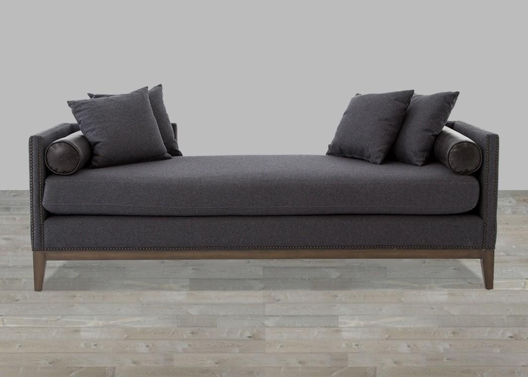 Chaise Sofa In Charcoal Felt Throughout Chaise Sofas (Image 6 of 20)