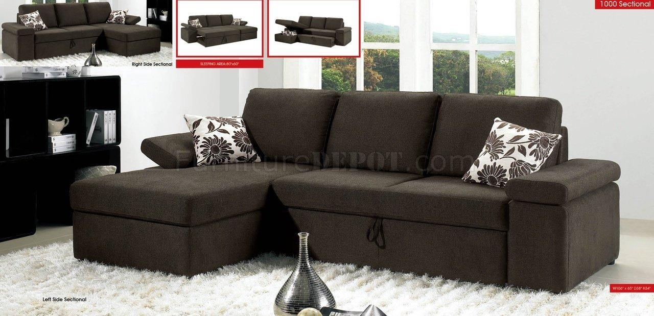 Charcoal Brown Fabric Modern Sectional Sofa W/pull Out Bed With Regard To Pull Out Sectional (Image 6 of 20)