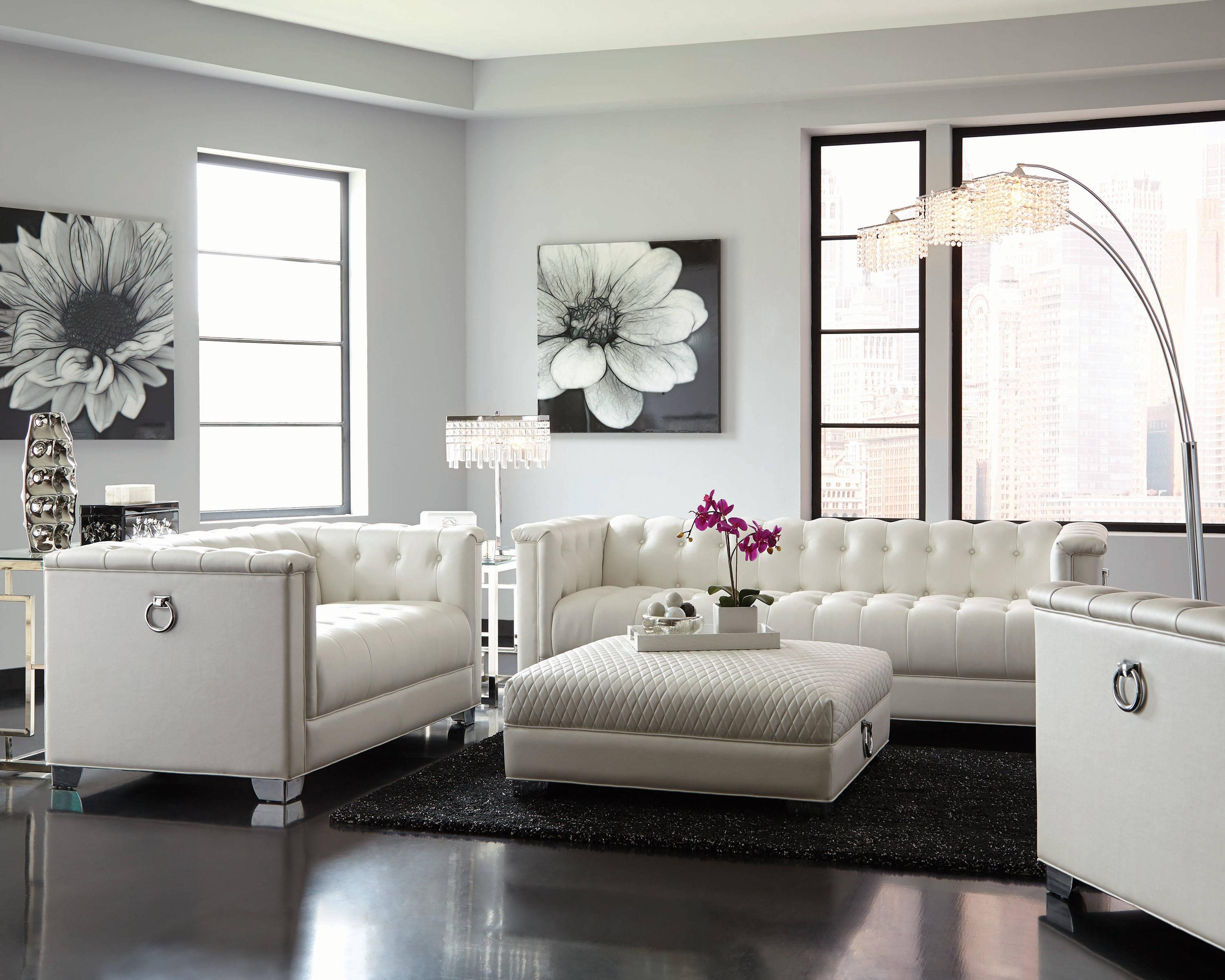 Chaviano Contemporary White Silver Faux Leather Wood Tufted Sofa For Silver Tufted Sofas (Image 4 of 20)