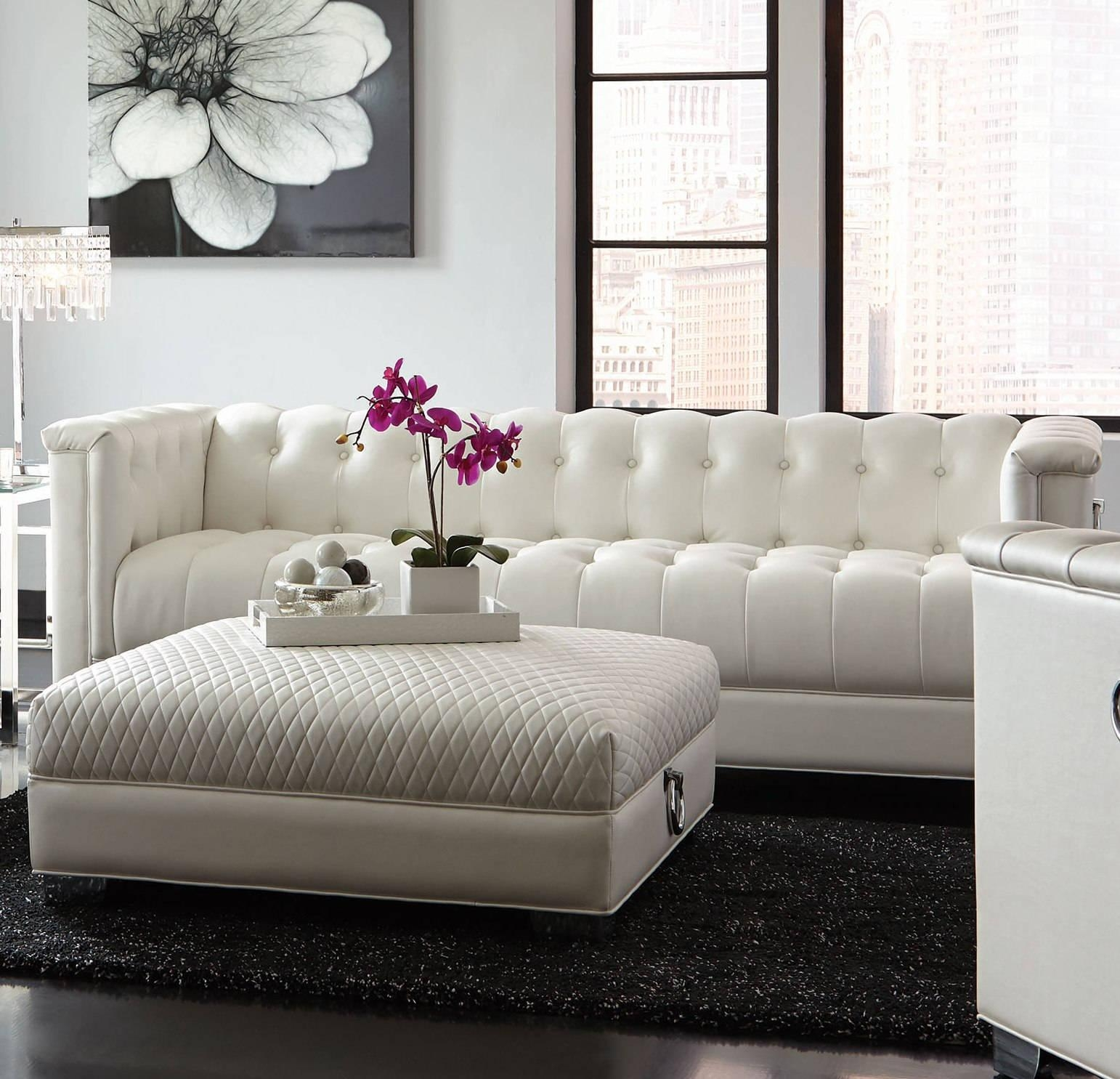 Chaviano Contemporary White Silver Faux Leather Wood Tufted Sofa Throughout Silver Tufted Sofas (Image 5 of 20)