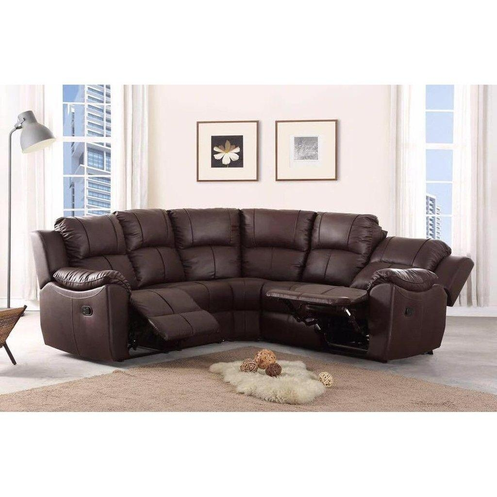 Cheap Sofa Uk | Harley Recliner Leather Corner Sofa Black Or Brown Pertaining To Cheap Corner Sofas (Image 4 of 20)