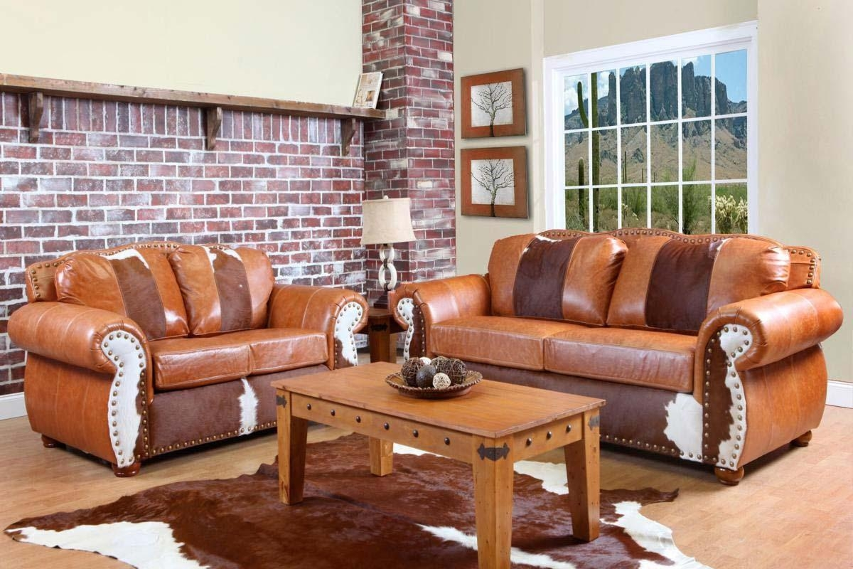 Chelsea Home Rawhide Sofa – Top Grain Leather And Cowhide Inside Cowhide Sofas (Image 3 of 20)