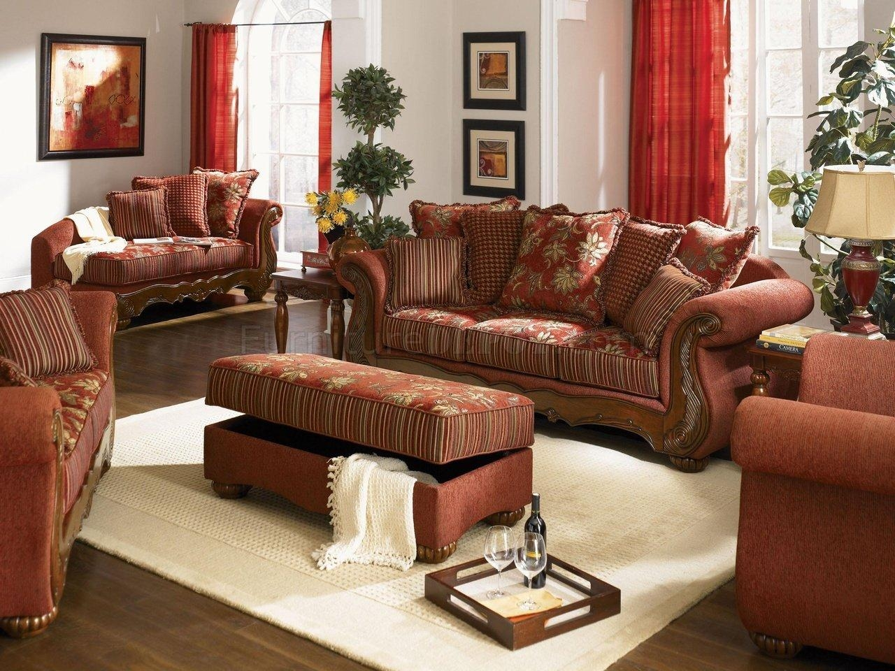 Chenille Fabric Traditional Living Room Savona U142 Red Throughout Traditional Fabric Sofas (View 12 of 20)