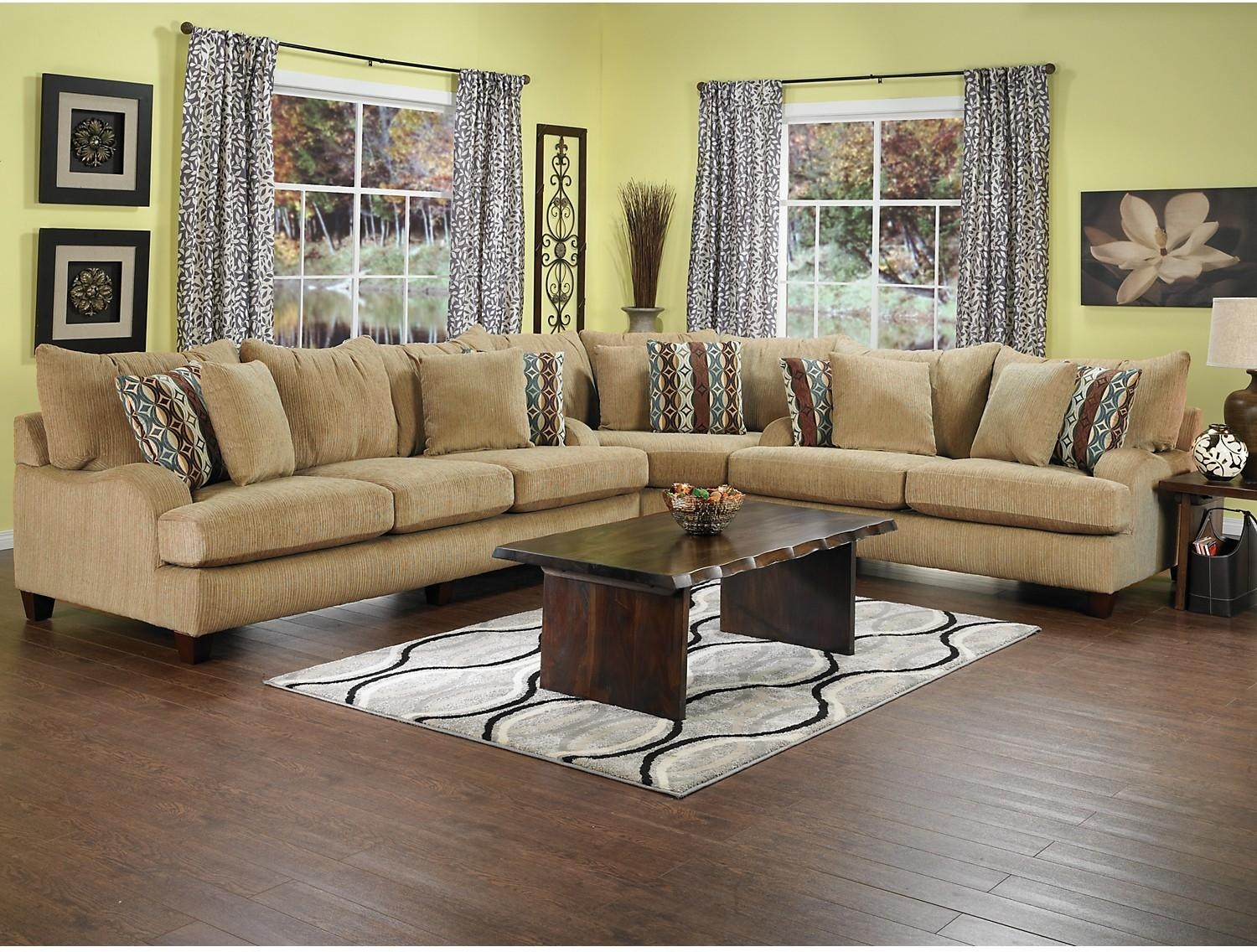 Chenille Sectional Living Room Furniture – Carameloffers Inside Chenille Sectional Sofas With Chaise (Image 3 of 20)