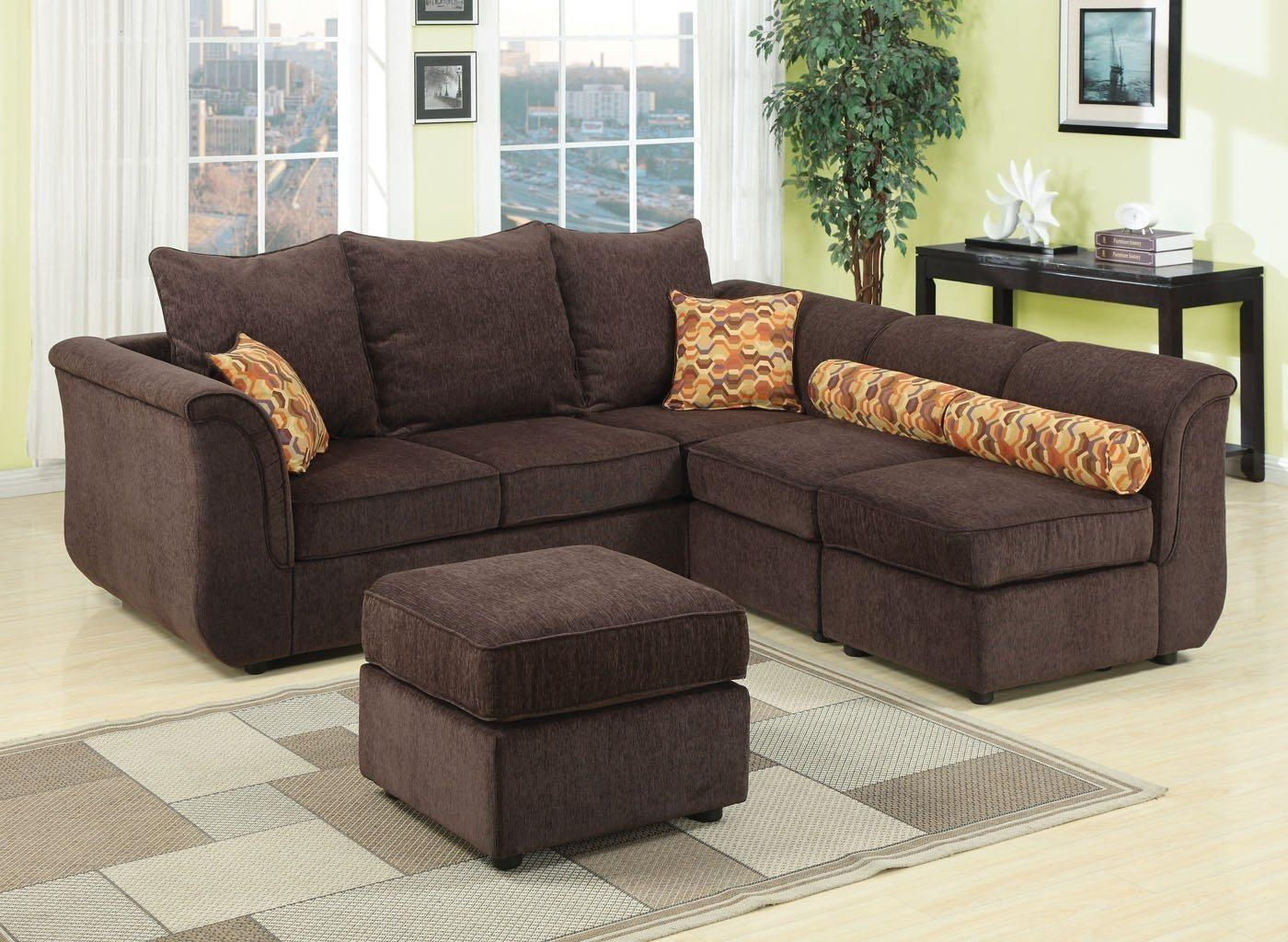 Chenille Sectional Sofa Contemporary Sectional Sofa And Ottoman Throughout Chenille Sectional Sofas With Chaise (Image 4 of 20)