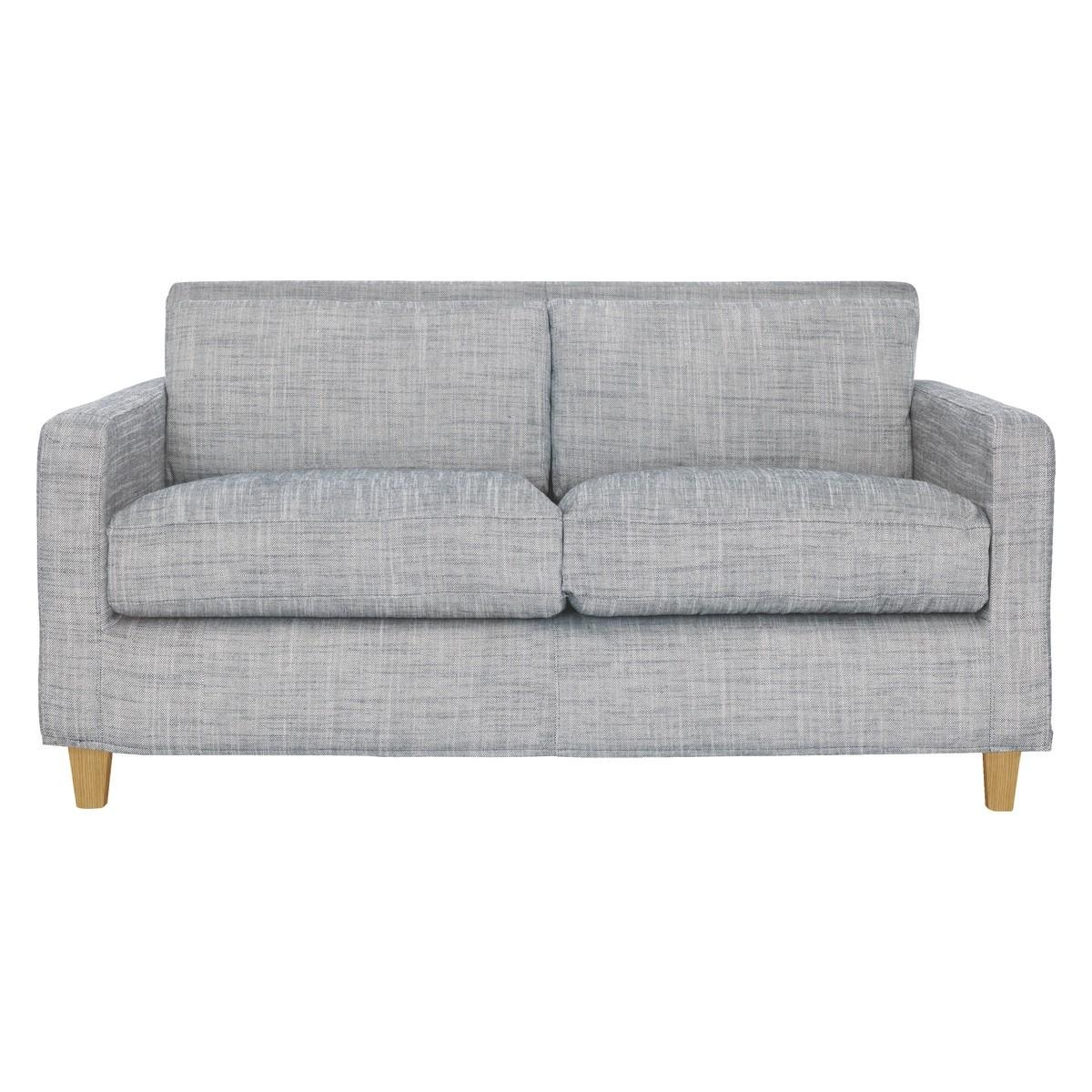 Chester Black & White Italian Woven Fabric 2 Seater Sofa, Oak In 2 Seater Sofas (Image 7 of 20)