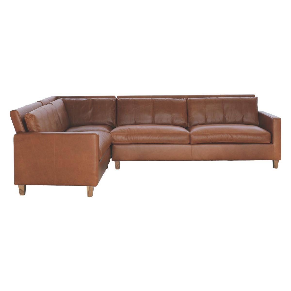 Chester Mid Tan Leather Right Arm Corner Sofa, Oak Stained Feet Regarding Corner Sofa Leather (Image 3 of 20)