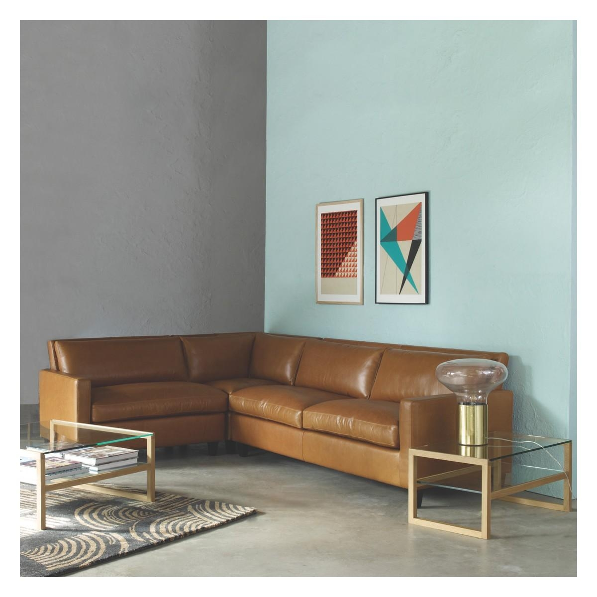 Chester Mid Tan Leather Right Arm Corner Sofa, Oak Stained Feet Within Corner Sofa Leather (Image 4 of 20)