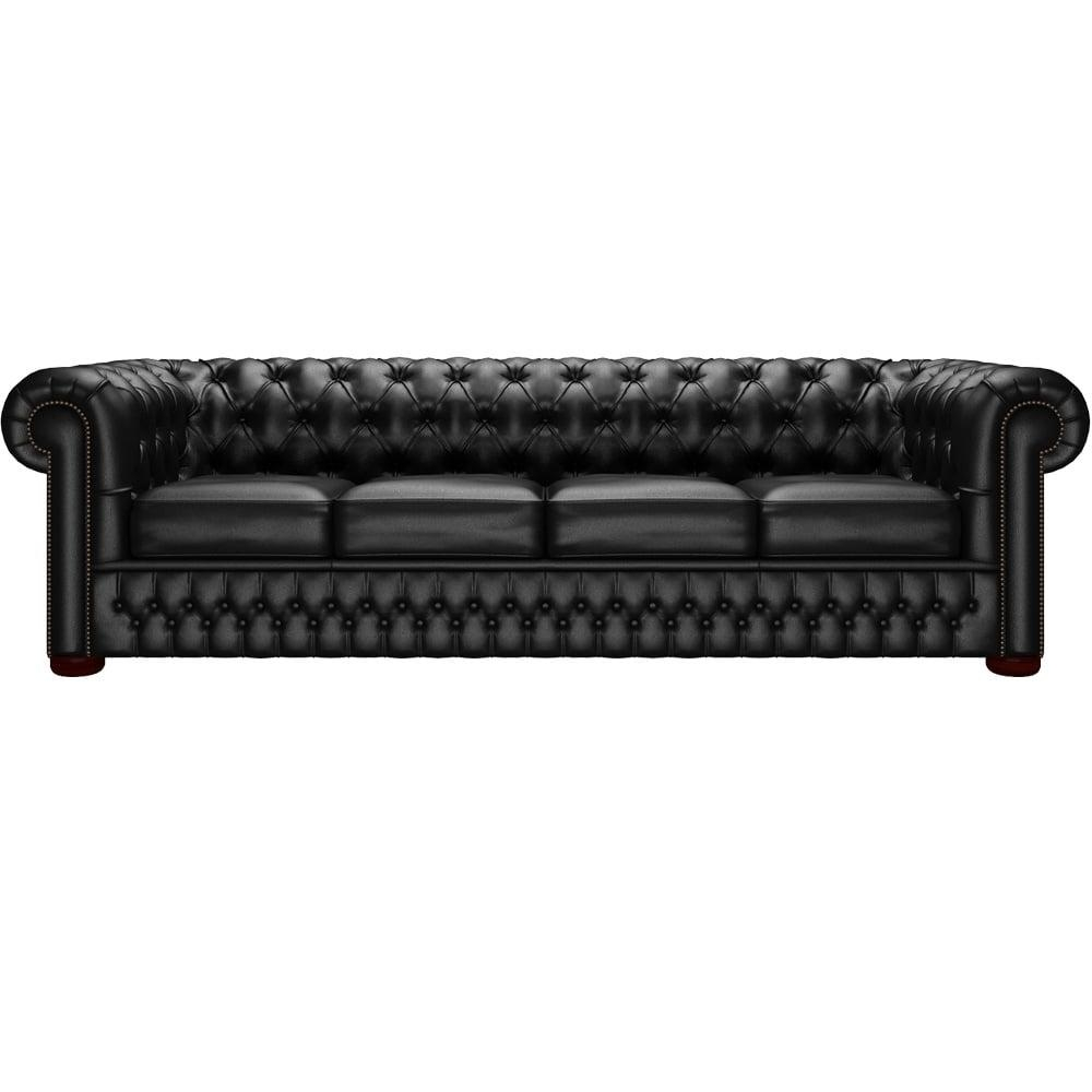 Chesterfield 4 Seater Sofa In Shelly Black – From Sofassaxon Uk Inside 4 Seat Leather Sofas (Image 2 of 20)
