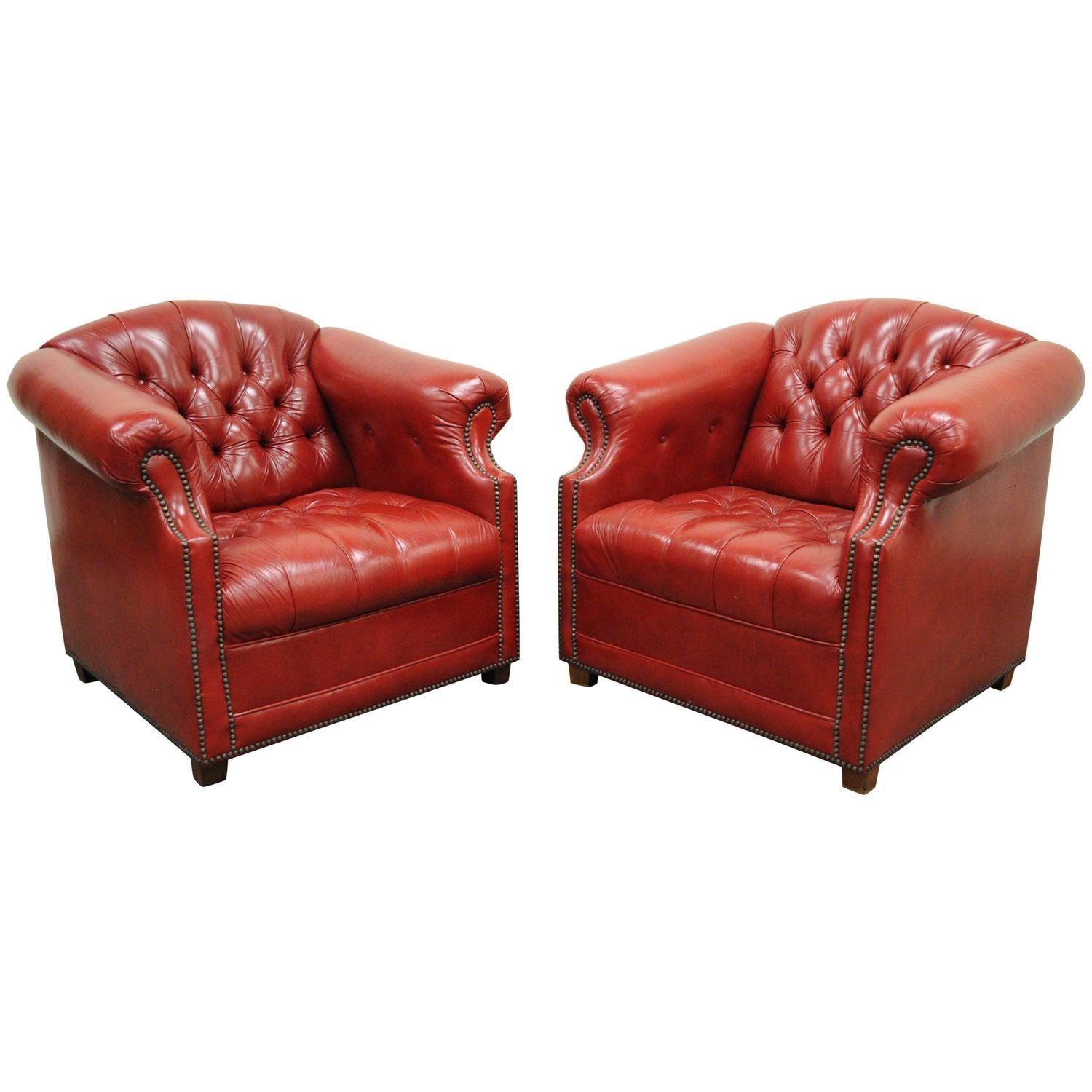 Chesterfield Armchairs – 20 For Sale At 1Stdibs Regarding Red Leather Chesterfield Chairs (Image 7 of 20)