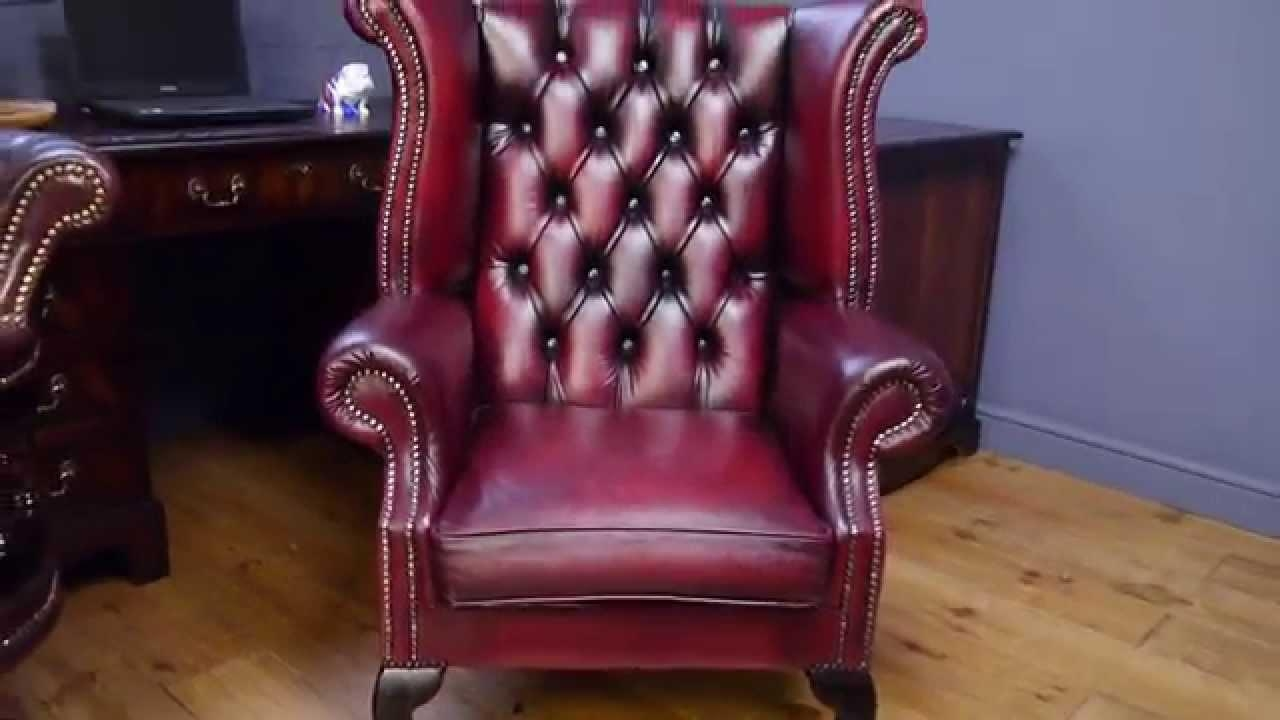 Chesterfield Chair Wing Back Antique Style Oxblood Red Leather Regarding Red Chesterfield Chairs (Image 9 of 20)