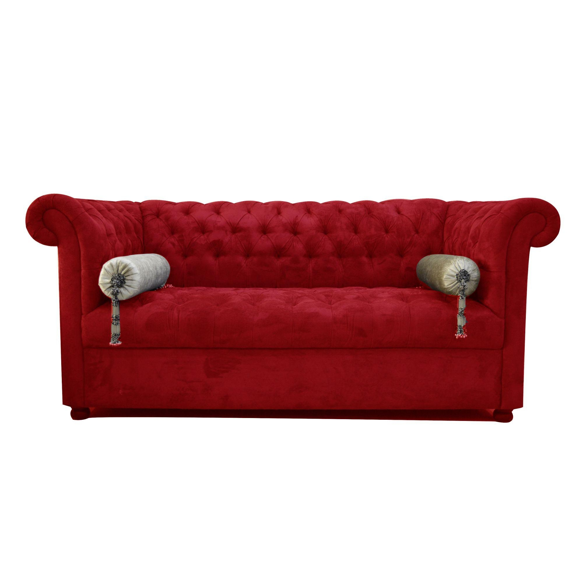 Chesterfield Sofa Bench (Cherry Red) Throughout Red Chesterfield Sofas (Image 4 of 20)