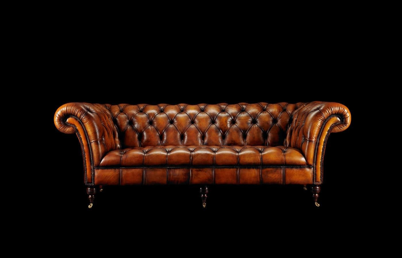 Chesterfield Sofa / Leather / 2 Seater / On Casters – Phillip Pertaining To Casters Sofas (Image 5 of 20)