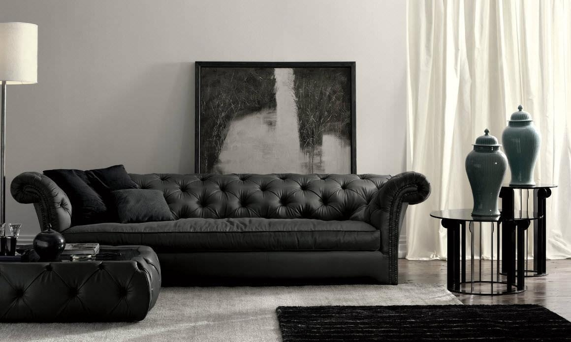 Chesterfield Sofa / Leather / 3 Seater / Black – Churchill Dh100 With Regard To Churchill Sofas (Image 1 of 20)