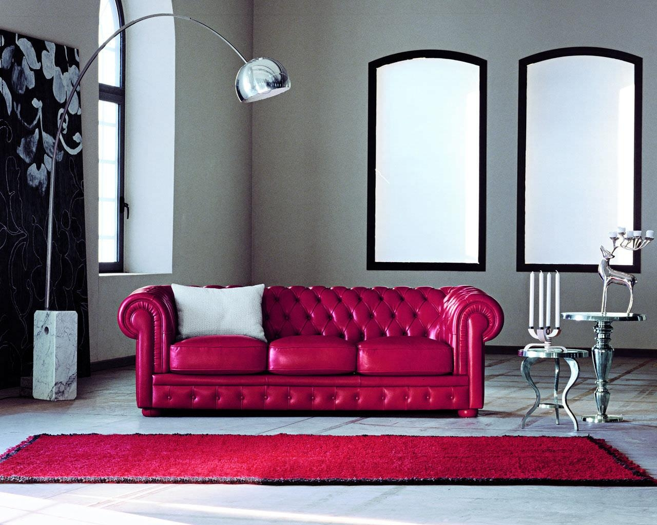 Chesterfield Sofa / Leather / 3 Seater / Red – Alioth – Doimo Sofas With Regard To Red Chesterfield Sofas (Image 3 of 20)
