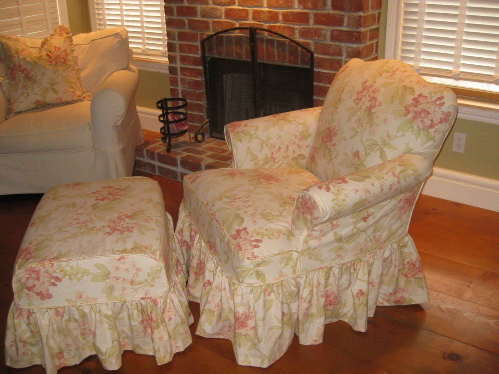 Chic Yellow White Chair Cover For Wingback Chair On Grey Shag Rug Intended For Shabby Chic Sofas Covers (Image 5 of 20)