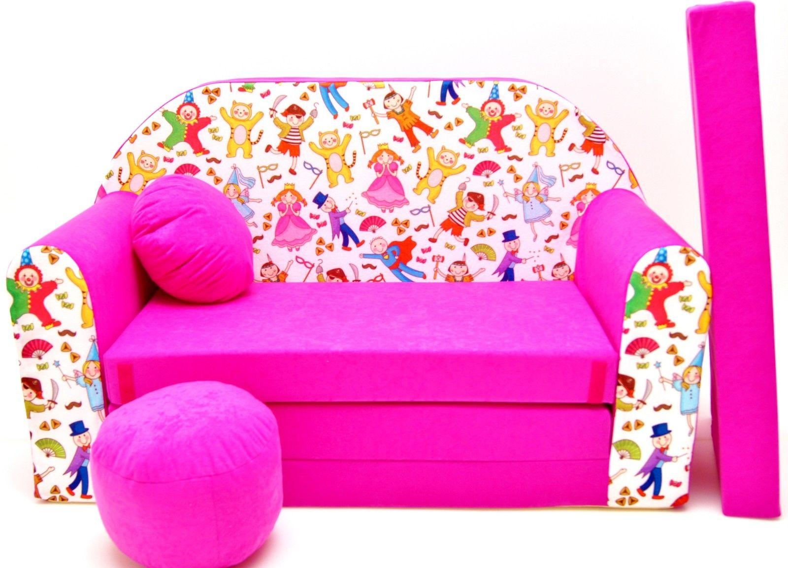 Childrens Sofa Bed, Fold Out Sofa Bed + Free Pillow And Pouffe Intended For Footstool Pouffe Sofa Folding Bed (View 6 of 20)