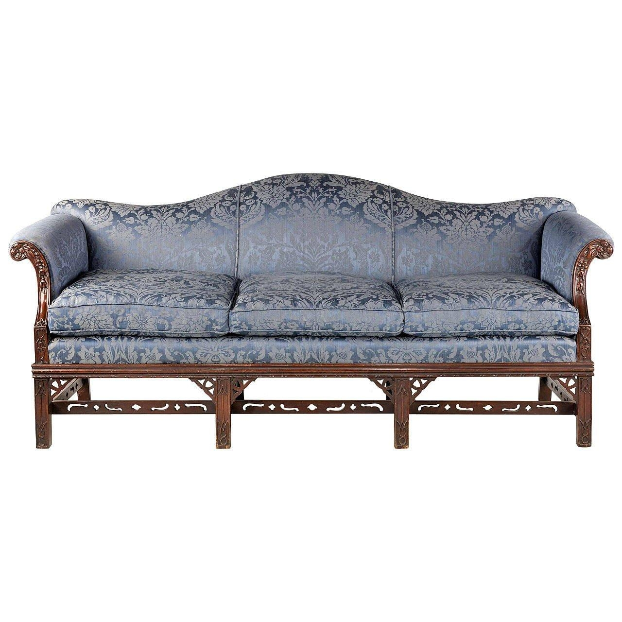 Chippendale Style Mahogany Framed Camel Back Sofa At 1Stdibs With Chippendale Camelback Sofas (Image 8 of 20)