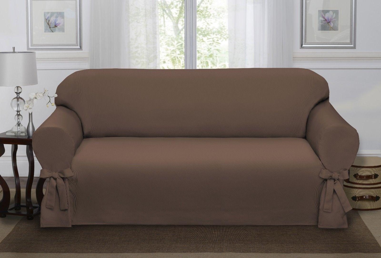 Chocolate Brown Lucerne Sofa Slipcover, Couch Cover, Sofa, Chair With Sofa And Chair Covers (View 15 of 20)